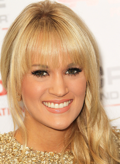 Carrie Underwood Straight, Chic, Blonde Hairstyle with Bangs