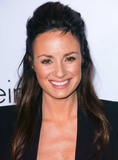 Catt Sadler Long, Straight, Sophisticated, Brunette Half Updo