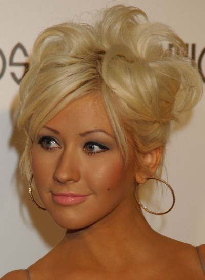 Christina Aguilera Tousled, Formal Updo