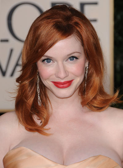 Christina Hendricks' Tousled Bob for Heart-Shaped Faces