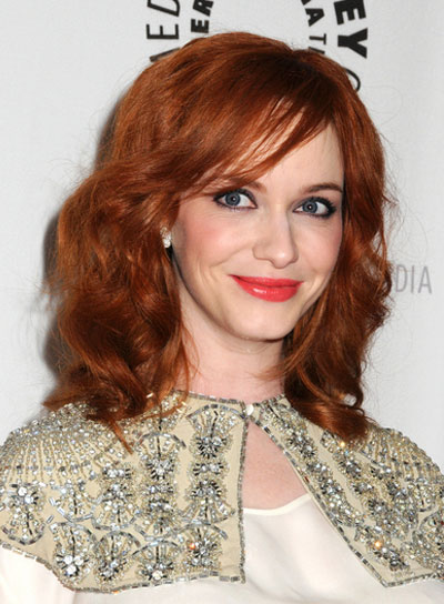 Christina Hendricks' Medium, Wavy, Red Hairstyle with Bangs
