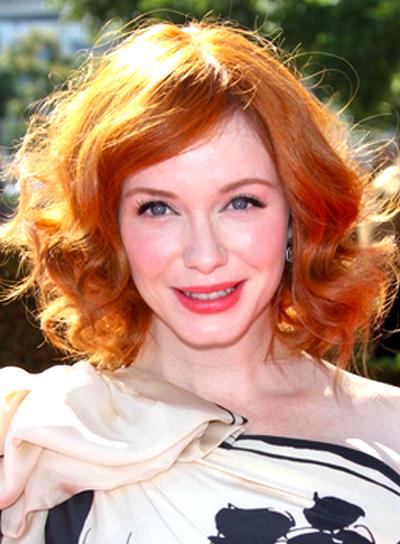 Christina Hendricks' Medium, Party, Wavy, Red Hairstyle