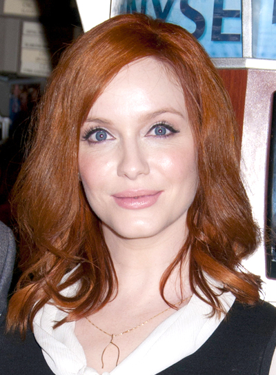 Christina Hendricks' Medium, Wavy, Romantic, Chic Hairstyle