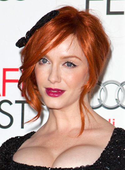 Christina Hendricks' Wavy, Red, Party, Updo, Hairstyle
