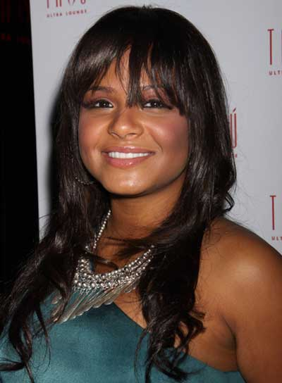Christina Milian Long, Curly, Brunette Hairstyle with Bangs