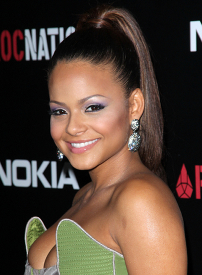 Christina Milian Straight, Chic, Sophisticated, Party, Brunette Ponytail