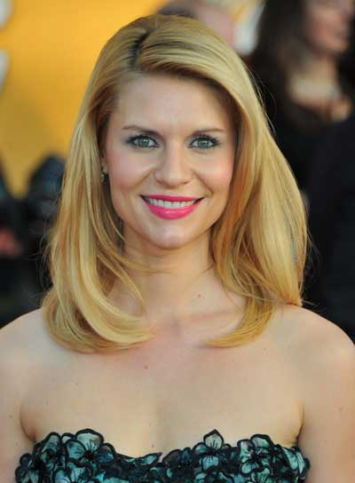Claire Danes Medium, Straight, Layered, Blonde Hairstyle