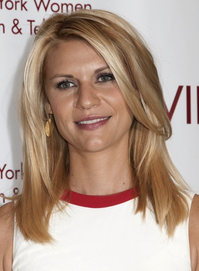 Claire Danes Medium, Straight, Layered, Sophisticated, Blonde Hairstyle