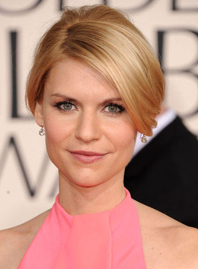 Claire Danes Straight, Romantic, Blonde Updo with Bangs