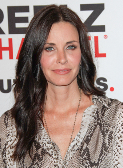 Courteney Cox-Arquette Long, Wavy, Tousled, Brunette Hairstyle
