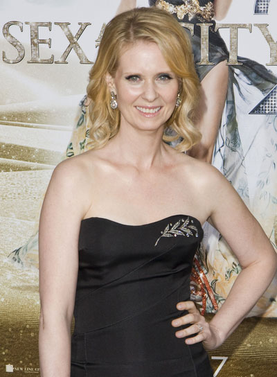Cynthia Nixon Medium, Blonde, Curly Hairstyle