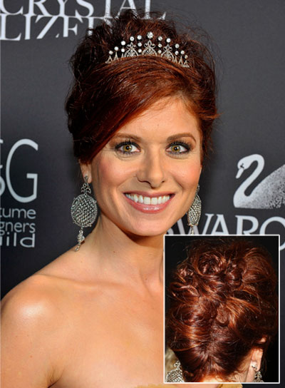 Debra Messing Red, Sophisticated, Wedding Updo