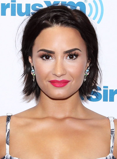 Demi Lovato with a Short, Black, Straight, Blunt, Bob Hairstyle