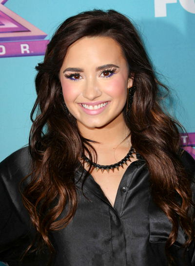 Demi Lovato's Long, Brunette, Wavy, Romantic Hairstyle