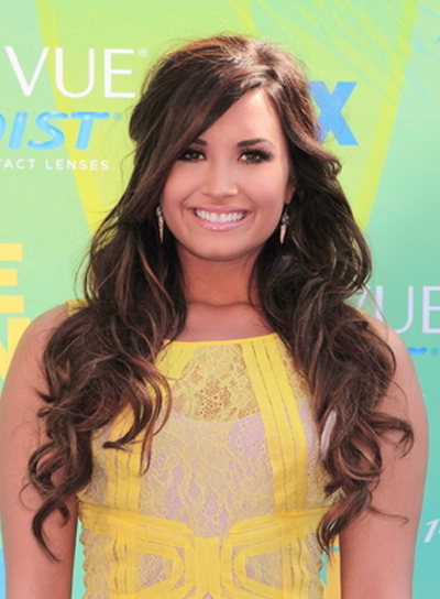 Demi Lovato Long, Curly, Sexy, Brunette Half Updo with Bangs
