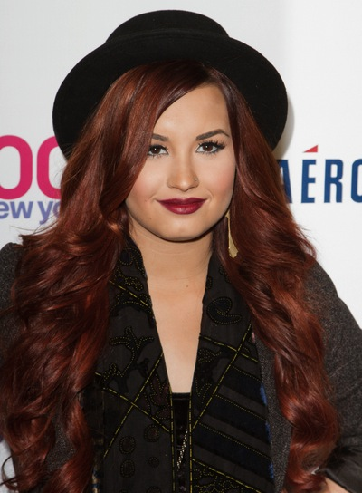 Demi Lovato Long, Curly, Edgy, Red Hairstyle