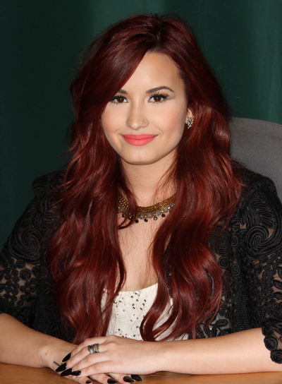 Demi Lovato Long, Sophisticated, Red Hairstyle