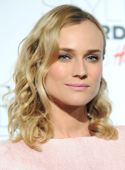 Diane Kruger Medium, Curly, Blonde, Romantic Hairstyle