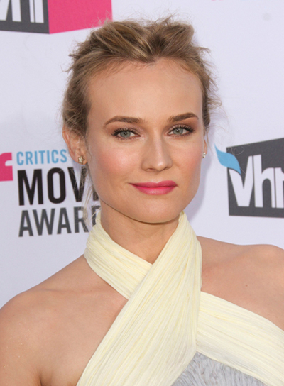 Diane Kruger Chic, Edgy, Tousled Updo with Highlights