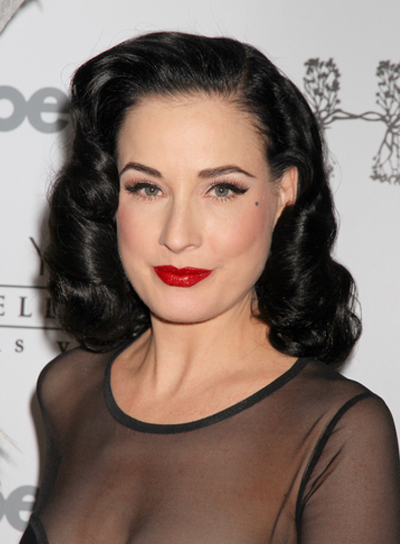 Dita Von Teese Medium, Curly, Romantic, Formal, Black Hairstyle