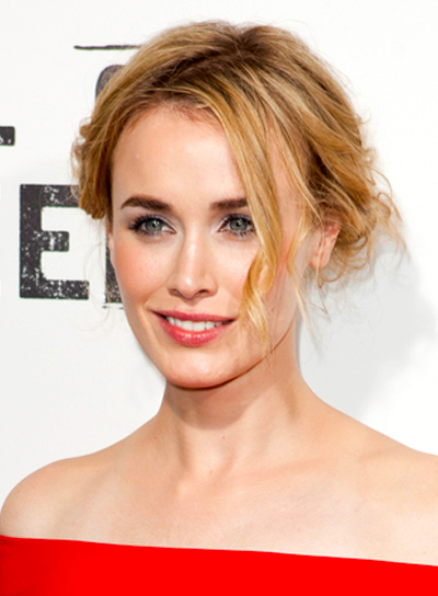 Dominique McElligott's Blonde, Tousled, Romantic Updo Hairstyle
