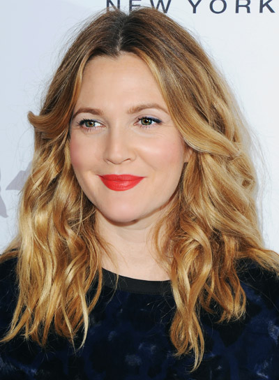 Drew Barrymore Medium, Wavy, Blonde, Romantic Hairstyle