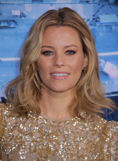Elizabeth Banks Medium, Wavy, Tousled, Blonde Hairstyle
