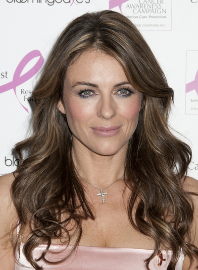 Elizabeth Hurley Long, Layered, Curly, Brunette Hairstyle