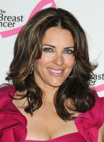 Elizabeth Hurley Medium, Curly Hairstyle with Highlights
