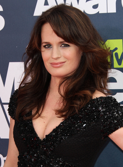 Elizabeth Reaser Long, Curly, Sexy, Brunette Hairstyle with Bangs
