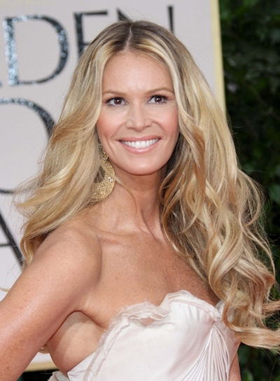 Elle Macpherson Long, Curly, Blonde Hairstyle