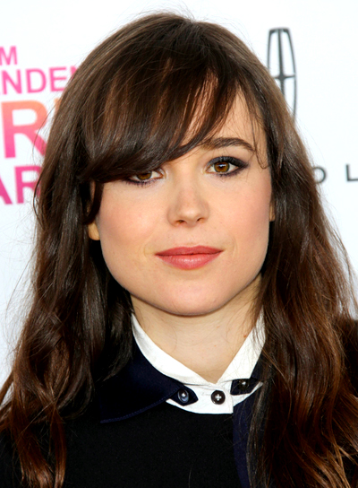 Ellen Page's Brunette, Wavy, Chic Hairstyle with Bangs