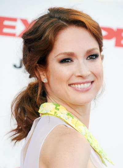 Ellie Kemper Medium, Wavy, Red, Ponytail Hairstyle
