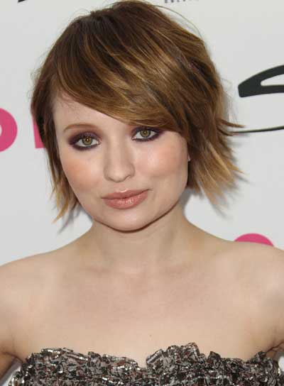 Emily Browning Short, Tousled, Edgy, Brunette Hairstyle