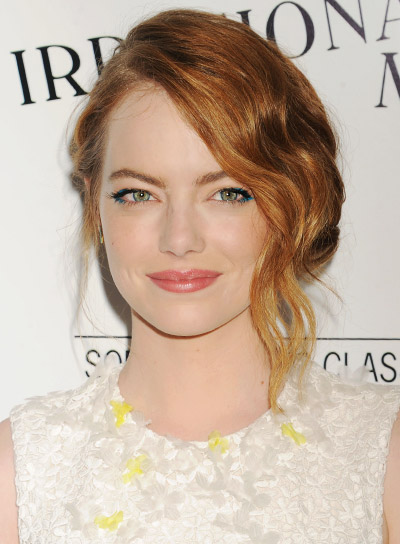 Emma Stone with a Long, Red, Wavy, Romantic Updo Hairstyle