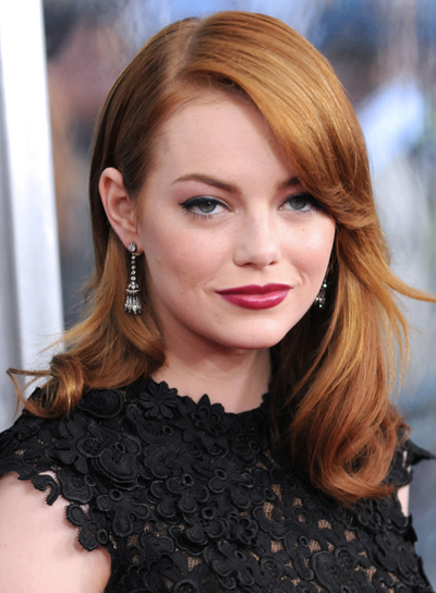 Emma Stone Medium, Romantic, Sophisticated, Layered, Red Hairstyle