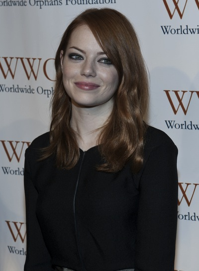 Emma Stone Medium, Romantic, Red Hairstyle