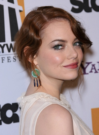 Emma Stone Wavy, Sophisticated, Red Updo