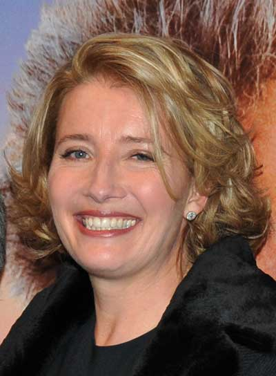 Emma Thompson Short, Curly, Layered, Blonde Bob
