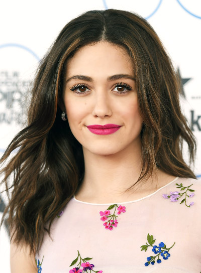 Emmy Rossum Medium, Wavy, Brunette, Romantic Hairstyle