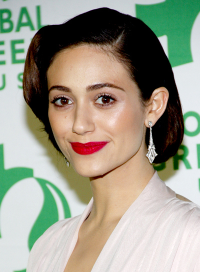 Emmy Rossum's Brunette, Chic, Sophisticated, Updo Hairstyle