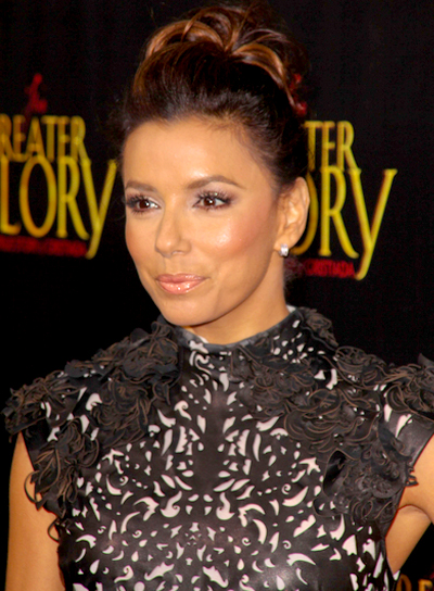 Eva Longoria's Formal, Chic, Brunette, Updo Hairstyle