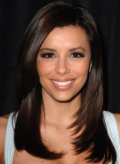 Eva Longoria Brunette, Straight, Layered Hairstyle
