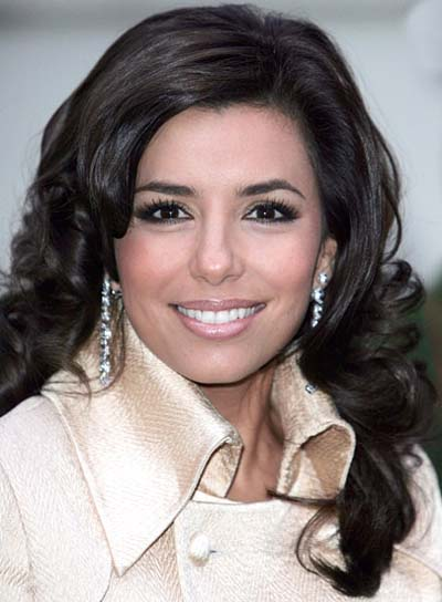 Eva Longoria Brunette, Curly, Long Hairstyle