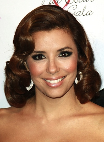 Eva Longoria Medium, Wavy, Romantic, Brunette Hairstyle