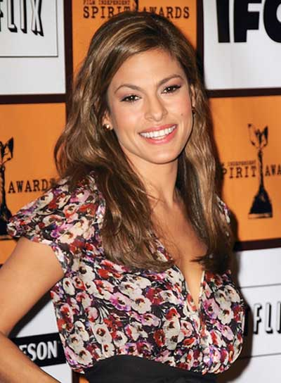 Eva Mendes Brunette Hairstyle with Highlights