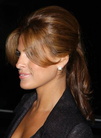 Eva Mendes Long Half Updo with Bangs