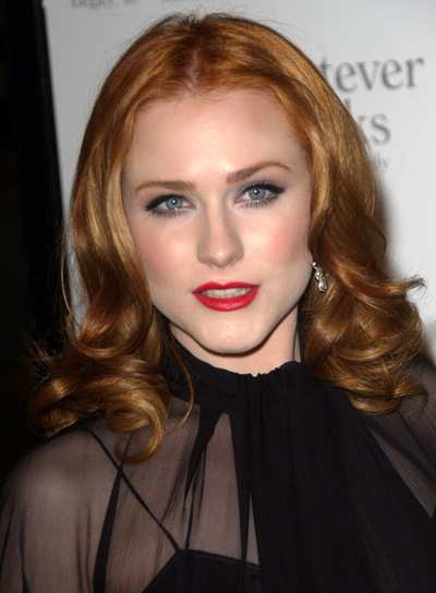 Evan Rachel Wood Curly, Romantic, Red Hairstyle
