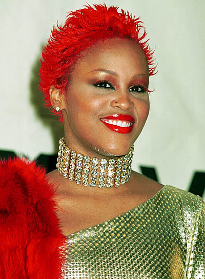 Eve Short, Red, Funky Hairstyle