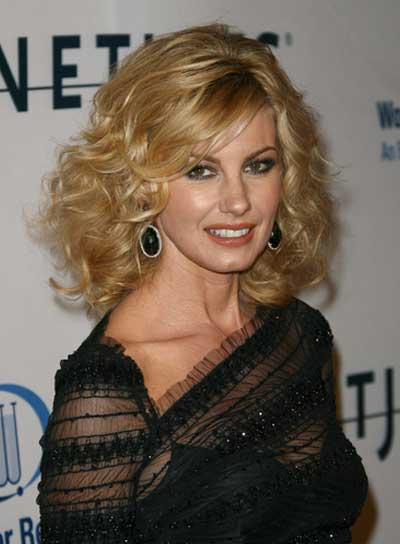 Faith Hill Short, Curly, Tousled, Blonde Hairstyle with Bangs